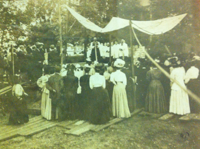 Laying of the cornerstone to present Church with Bishop Anderson officiating, 1907