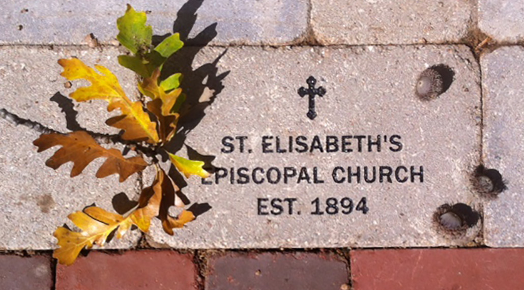 "engraved outdoor tile that says ""ST. ELISABETH'S EPISCOPAL CHURCH: EST. 1894"""