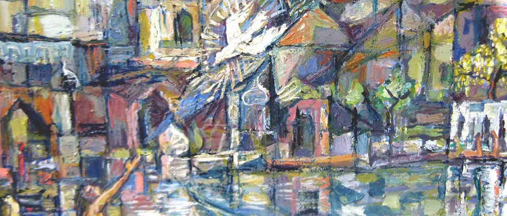 abstract image (Chagall?) of Biblical cityscape