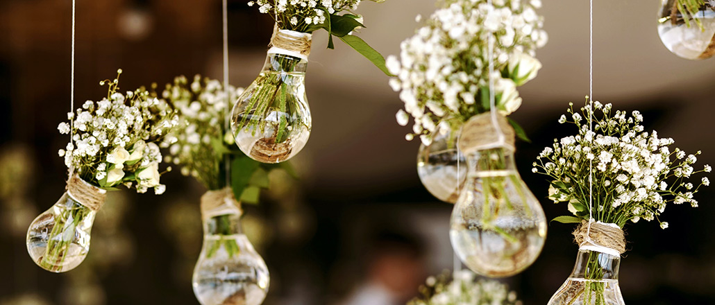 pretty image of glass bulbs and baby's breath