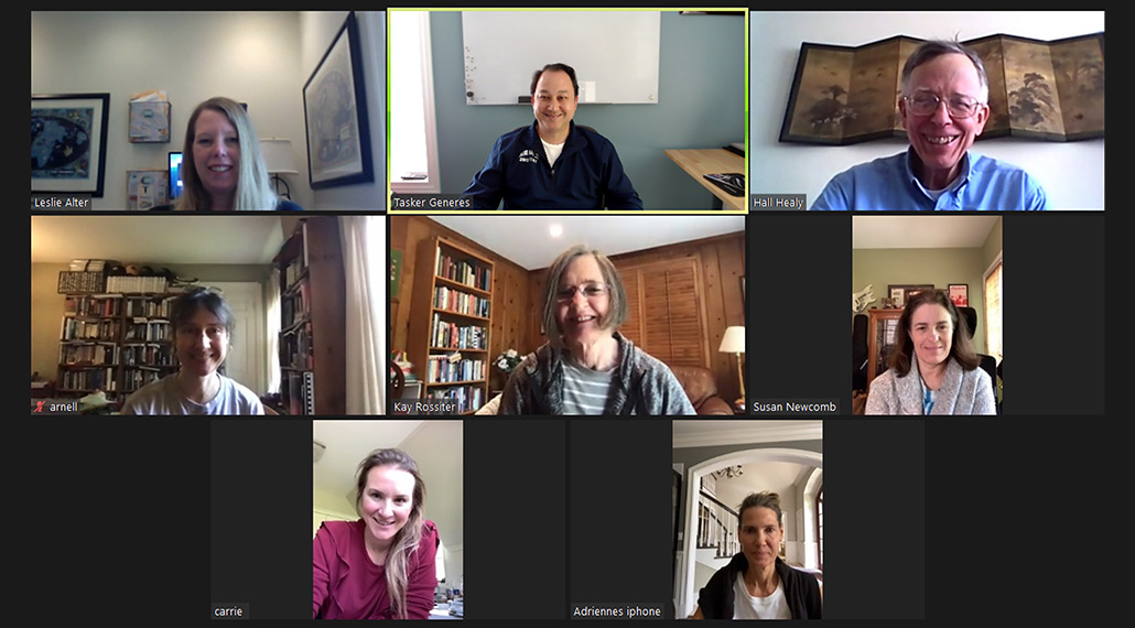 St. E's search committee in a Zoom telemeeting grid