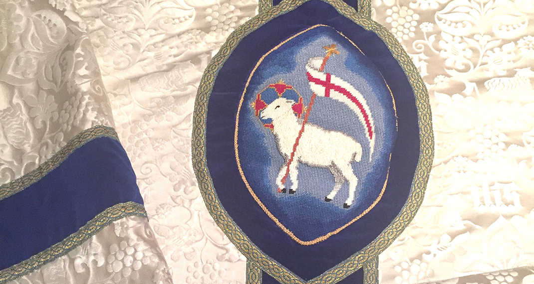 vestments with embroidered lamb